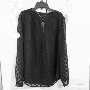 Talbots polka dots black blouse